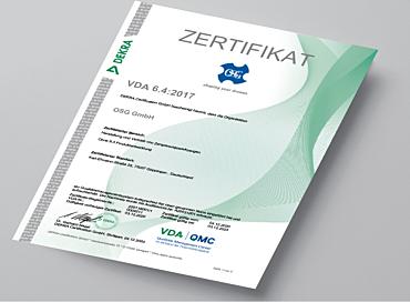Zertifikat VDA 6.4_2017